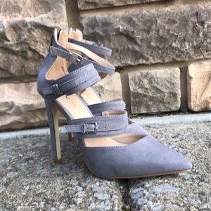Just Fab, gray suede high heel shoe